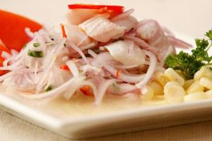 The beautiful ceviche plate created by the Peruvian culinary students